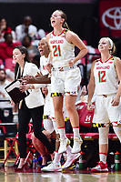 College Park, MD - NOV 13, 2017: Maryland Terrapins guard Sarah Myers (21) celebrates on the sideline after the Terps connect on a three point basket during match up between No. 4 ranked South Carolina and the No. 15 Maryland Terrapins at the XFINITY Center in College Park, MD. The Gamecocks defeated Maryland 94-86.  (Photo by Phil Peters/Media Images International)