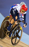 06 AUG 2012 - LONDON, GBR - Laura Trott (GBR) of Great Britain rides in the pack during the Women's Omnium 20km Points Race at the London 2012 Olympic Games track cycling at the Olympic Park Velodrome in Stratford, London, Great Britain .(PHOTO (C) 2012 NIGEL FARROW)