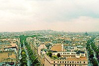 Paris: From the Arc--looking to Sacre Coeur. Avenue Hoche to left; Ave. de Friedland/Boulevard Haussmann to right. Photo '87.