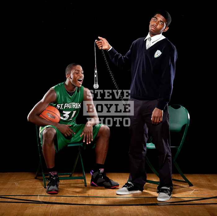 St. Patrick's boys basketball players, junior Michael Gilchrist (31) and senior Kyrie Irving (11) on November 3, 2009 at St. Patrick's High School in Elizabeth, New Jersey.