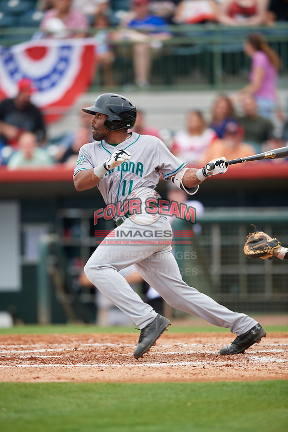 Daytona Tortugas designated hitter Malik Collymore (11) follows through on a swing during a game against the Florida Fire Frogs on April 7, 2018 at Osceola County Stadium in Kissimmee, Florida.  Daytona defeated Florida 4-3 in a six inning rain shortened game.  (Mike Janes/Four Seam Images)