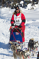 Hank Debruin on Long Lake at the Re-Start of the 2012 Iditarod Sled Dog Race
