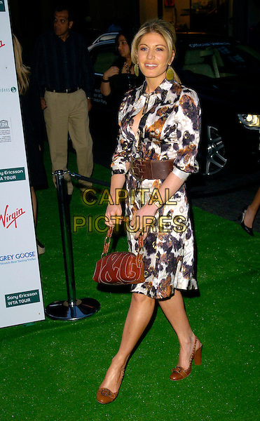 HOFIT GOLAN.At a Sony Ericsson WTA Tour Pre-Wimbledon Party, The Roof Gardens, Kensington, London, England,.June 21st, 2007.full length brown and white cream print shirt dress bag shoes belt.CAP/CAN.©Can Nguyen/Capital Pictures