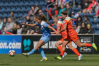 Bridgeview, IL - Saturday May 06, 2017: Sofia Huerta, Janine Van Wyk, Amber Brooks during a regular season National Women's Soccer League (NWSL) match between the Chicago Red Stars and the Houston Dash at Toyota Park. The Red Stars won 2-0.