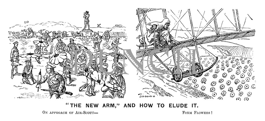"""The new arm,"" and how to elude it. On approach of air-scout - Form flowers!"
