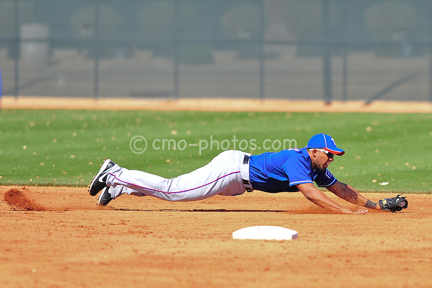 Feb 24, 2011; Surprise, AZ, USA; Texas Rangers shortstop Elvis Andrus dives for a ground ball during an intra-squad game played by the Rangers at the Surprise Recreation Campus.