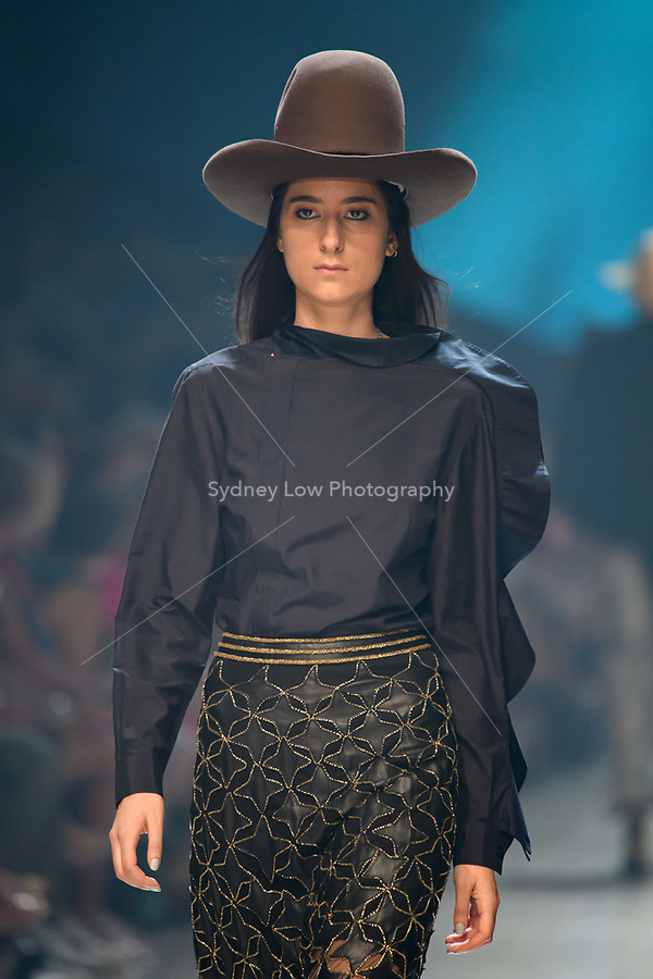 10 March 2018, Melbourne - Model showcases design by Kaliver during the runway 6 show presented by Who What Wear at the 2018 Virgin Australia Melbourne Fashion Festival in Melbourne, Australia. (Photo Sydney Low / asteriskimages.com)