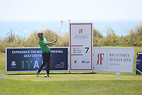 Thomas Aiken (RSA) on the 7th tee during Round 1 of the Rocco Forte Sicilian Open 2018 on Thursday 10th May 2018.<br /> Picture:  Thos Caffrey / www.golffile.ie<br /> <br /> All photo usage must carry mandatory copyright credit (&copy; Golffile | Thos Caffrey)
