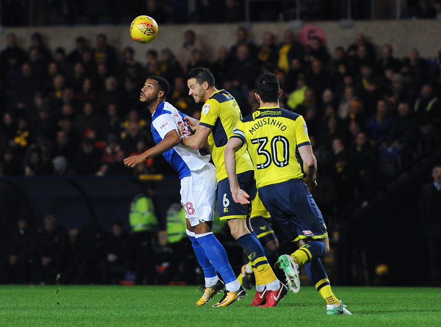 Blackburn Rovers' Joe Nuttall battles for possession with Oxford United's Aaron Martin<br /> <br /> Photographer Ashley Western/CameraSport<br /> <br /> The EFL Sky Bet League One - Oxford United v Blackburn Rovers - Tuesday 21st November 2017 - Kassam Stadium - Oxford<br /> <br /> World Copyright &copy; 2017 CameraSport. All rights reserved. 43 Linden Ave. Countesthorpe. Leicester. England. LE8 5PG - Tel: +44 (0) 116 277 4147 - admin@camerasport.com - www.camerasport.com