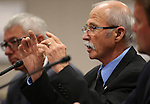 Lobbyist Ron Dreher testifies in a committee hearing at the Legislative Building in Carson City, Nev., on Friday, Feb. 27, 2015. <br /> Photo by Cathleen Allison