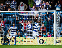 Queens Park Rangers' Eberechi Eze (right) celebrates scoring his side's second goal <br /> <br /> Photographer Andrew Kearns/CameraSport<br /> <br /> The EFL Sky Bet Championship - Queens Park Rangers v Blackburn Rovers - Saturday 5th October 2019 - Loftus Road - London<br /> <br /> World Copyright © 2019 CameraSport. All rights reserved. 43 Linden Ave. Countesthorpe. Leicester. England. LE8 5PG - Tel: +44 (0) 116 277 4147 - admin@camerasport.com - www.camerasport.com