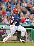 29 March 2008: Washington Nationals' infielder Ronnie Belliard watches one sail to the outfield during an exhibition game against the Baltimore Orioles at Nationals Park, in Washington, DC. The matchup was the first professional baseball game played in the new Nationals Park, prior to the upcoming official opening day inaugural game. The Nationals defeated the Orioles 3-0...Mandatory Photo Credit: Ed Wolfstein Photo