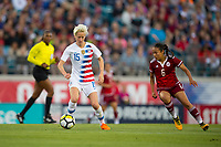 Jacksonville, FL - Thursday, April 05, 2018:  Megan Rapinoe, Karla Nieto during a friendly match between USA and Mexico at EverBank Stadium.  USA defeated Mexico 4-1.