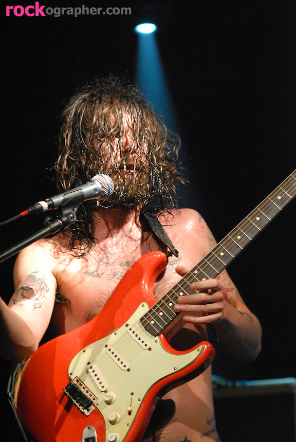 Bare chested front man Simon Neil of Scottish band Biffy Clyro performs at Blender Theater NYC during CMJ 07