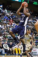 February 08, 2011:   North Florida Ospreys guard Brad Haugabrook (1) goes up for a layup during Atlantic Sun Conference action between the Jacksonville Dolphins and the North Florida Ospreys at Veterans Memorial Arena in Jacksonville, Florida.  Jacksonville defeated North Florida 71-69.