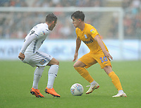 Preston North End's Josh Harrop under pressure from Swansea City's Connor Roberts<br /> <br /> Photographer Kevin Barnes/CameraSport<br /> <br /> The EFL Sky Bet Championship - Swansea City v Preston North End - Saturday August 11th 2018 - Liberty Stadium - Swansea<br /> <br /> World Copyright &copy; 2018 CameraSport. All rights reserved. 43 Linden Ave. Countesthorpe. Leicester. England. LE8 5PG - Tel: +44 (0) 116 277 4147 - admin@camerasport.com - www.camerasport.com