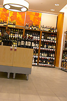 The interior of Systembolaget, the Swedish retail monopoly stores for alcohol wine beer spirits with bottles displayed on shelves Stockholm, Sweden, Sverige, Europe