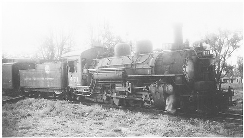 3/4 view of K-28 #471 maybe in Gunnison.<br /> D&amp;RGW  Gunnison ?, CO