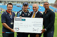 PICTURE BY ALEX WHITEHEAD/SWPIX.COM - Cricket - FriendLife T20 - Yorkshire v Lancashire - Headingley, Leeds, England - 29/06/12 - Yorkshire's David Miller is presented with a cheque for man of the match.
