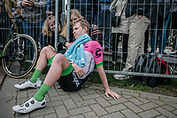 G Lawson Craddock (USA/Cannondale Drapac) exhausted and comforted after being in the breakaway all day.<br /> <br /> 53th Amstel Gold Race (1.UWT)<br /> 1 Day Race: Maastricht &gt; Berg en Terblijt (263km)