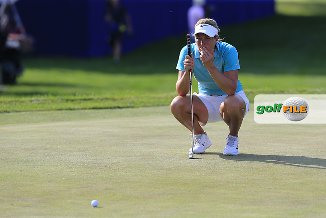 Suzann Pettersen (NOR) lines up her putt on the 18th green during Sunday's Final Round of the 2015 KPMG Women's PGA Championship held at Westchester Country Club, Harrison, New York, USA. 6/14/2015.<br /> Picture &copy; Golffile/Eoin Clarke