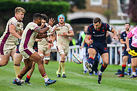 Matt Williams of London Scottish kicks the ball forwards during the Greene King IPA Championship match between London Scottish Football Club and Doncaster Knights at Richmond Athletic Ground, Richmond, United Kingdom on 30 September 2017. Photo by Jason Brown / PRiME Media Images.