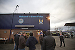 Hyde 1 Stalybridge Celtic 1, 26/12/2011. Ewen Fields, Conference North. Fans waiting in the queue of a refreshment kiosk behind the main stand at Ewen Fields, Hyde, before Hyde take on Stalybridge Celtic in a Conference North fixture. The match, between the teams occupying the top two places in the division, ended one-all in front of 1868 spectators, Hyde's largest home attendance in 15 years. Ewen Fields is used by Manchester City reserves for matches and has been rebranded in city's colours and with their sponsors advertising around the ground, with the club changing its name from Hyde United to the present one. Photo by Colin McPherson.