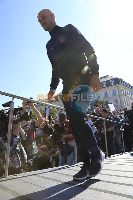 Tom Boonen (BEL) Quick-Step Floors riding his last race at the Team Presentation for the upcoming 115th edition of the Paris-Roubaix 2017 race held in Compiegne, France. 8th April 2017.<br /> Picture: Eoin Clarke   Cyclefile<br /> <br /> <br /> All photos usage must carry mandatory copyright credit (&copy; Cyclefile   Eoin Clarke)