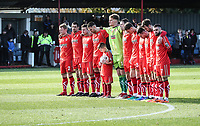 Alfreton Town during the minutes silence <br /> <br /> Photographer Rachel Holborn/CameraSport<br /> <br /> Emirates FA Cup First Round - Alfreton Town v Fleetwood Town - Sunday 11th November 2018 - North Street - Alfreton<br />  <br /> World Copyright &copy; 2018 CameraSport. All rights reserved. 43 Linden Ave. Countesthorpe. Leicester. England. LE8 5PG - Tel: +44 (0) 116 277 4147 - admin@camerasport.com - www.camerasport.com