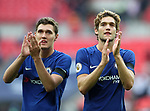 Chelsea's Marcos Alonso and Andres Christensen celebrate at the final whistle during the premier league match at the Wembley Stadium, London. Picture date 20th August 2017. Picture credit should read: David Klein/Sportimage