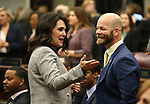Freshman Assemblywoman Alexis Hansen, R-Sparks, talks with former Assemblyman Justin Watkins before the start of Nevada Gov. Steve Sisolak's State of the State address in Carson City, Nev., on Wednesday, Jan. 16, 2019. (Cathleen Allison/Las Vegas Review-Journal)