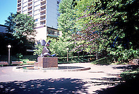 "Portland: Pettygrove Park & Bronze Sculpture, ""The Dreamer"" by Manuel Izquierdo, 1979.  Photo '86."
