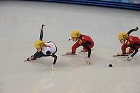 OLYMPICS: SOCHI: Iceberg Skating Palace, 13-02-2014, Shorttrack, 500m Relay Ladies, Semifinals, Elise Christie (#116 | GBR), Qiuhong (#112 | CHN), Jianrou Li (#111 | CHN),  ©photo Martin de Jong