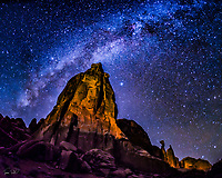 Milky Way and Park Avenue spire, Arches National Park, Utah