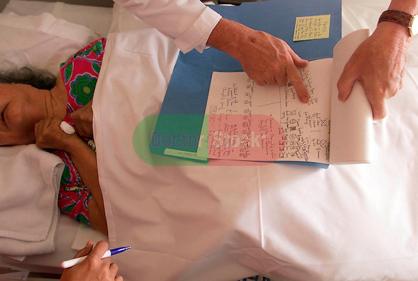 NOT MODEL RELEASED; FOR EDITORIAL USE ONLY... patient lying in bed while doctor reviews her family tree diagram during diagnosis of a hereditary neurological disease called Lytico-bodig
