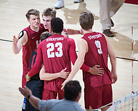 STANFORD, CA - March 14, 2019: Jordan Ewert, Leo Henken, Jordan Ewert, Stephen Moye, Kyle Dagostino at Maples Pavilion. The #8 Stanford Cardinal fell to the #6 Pepperdine Waves 3-0.