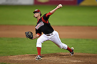 Batavia Muckdogs pitcher Hayden Fox (55) delivers a pitch during a game against the Mahoning Valley Scrappers on August 23, 2014 at Dwyer Stadium in Batavia, New York.  Mahoning Valley defeated Batavia 5-1.  (Mike Janes/Four Seam Images)