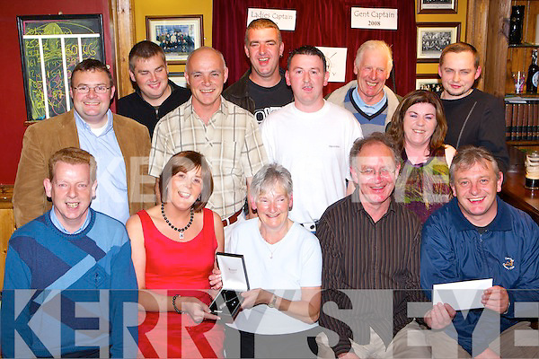 The prize winners at the Deerpark Pitch+Putt 2008 Captains day prize presentation in Corkery's bar, Killarney on Friday night front row l-r: John Looney, Mary Murphy Ladies winner, Eileen Switzer Ladies Captain, Gerry O'Sullivan Captain, Gerard Casey Gents winner. Back row: Bobby Kelly, Damian Fleming, Danny Looney, billy Burns, Timmy Looney, Betty O'Brien, John Murphy and Trevor Shine   Copyright Kerry's Eye 2008