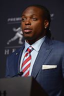 New York City, NY - December 12, 2015: University of Alabama running back Derrick Henry holds a press conference at the New York Marriott Marquis hotel after winning the 2015 Heisman Memorial Trophy December 12, 2015. Henry rushed for 1,986 yards, averaging 152.8 yards per game, breaking the single season SEC rushing record held by 1982 Heisman winner Herschel Walker. (Photo by Don Baxter/Media Images International)
