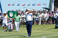 Patrick Reed (USA) tees off the first hole during his final round of the 118th U.S. Open Championship at Shinnecock Hills Golf Club in Southampton, NY, USA. 17th June 2018.<br /> Picture: Golffile | Brian Spurlock<br /> <br /> <br /> All photo usage must carry mandatory copyright credit (&copy; Golffile | Brian Spurlock)