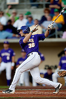 LSU Tigers shortstop Austin Nola #38 swings against the Mississippi State Bulldogs during the NCAA baseball game on March 17, 2012 at Alex Box Stadium in Baton Rouge, Louisiana. The 10th-ranked LSU Tigers beat #21 Mississippi State, 4-3. (Andrew Woolley / Four Seam Images).