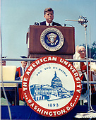 "United States President John F. Kennedy speaks at the American University commencement in Washington, D.C.  on June 10, 1963.  This speech is known as Kennedy's ""Pax Americana"" speech, where he outlined his vision for world peace..Credit: Arnie Sachs / CNP"