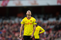 Watford's Richarlison reacts to a missed chance <br /> <br /> Photographer Craig Mercer/CameraSport<br /> <br /> The Premier League - Sunday 11th March 2018 - Arsenal v Watford - The Emirates - London<br /> <br /> World Copyright &copy; 2018 CameraSport. All rights reserved. 43 Linden Ave. Countesthorpe. Leicester. England. LE8 5PG - Tel: +44 (0) 116 277 4147 - admin@camerasport.com - www.camerasport.com