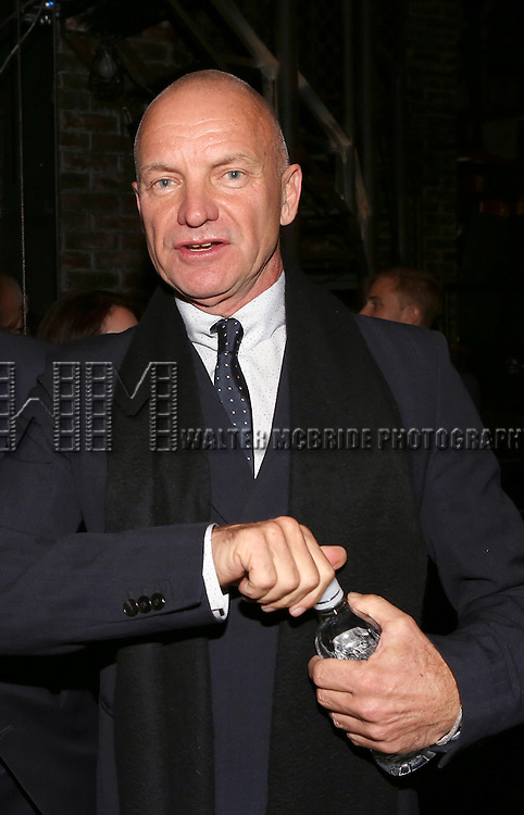 Sting during the Broadway Opening Night Gypsy Robe Ceremony Celebrating Jeremy Davis for 'The Last Ship' at the Neil Simon Theatre on October 26, 2014 in New York City.
