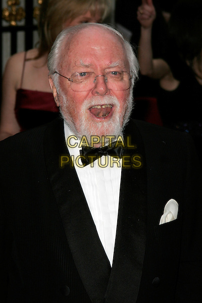 LORD RICHARD ATTENBOROUGH.The Galaxy British Book Awards held at the Grosvenor Hotel, Park Lane, London, England. .April 9th 2008 .headshot portrait bow tie gap teeth beard facial hair glasses mouth open .CAP/AH.©Adam Houghton/Capital Pictures.