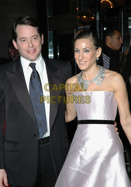 "MATTHEW BRODERICK & SARAH JESSICA PARKER.The afterparty at the Marriott Marquis for the opening night of ""The Odd Couple"", running at the Brooks Atkinson Theater in Manhattan, New York, New York..October 27th, 2005   .Photo: Patti Ouderkirk/AdMedia/Capital Pictures.Ref: PO/ADM.half length strapless pink dress diamond necklace celebrity couple married husband wife.www.capitalpictures.com.sales@capitalpictures.com.© Capital Pictures."