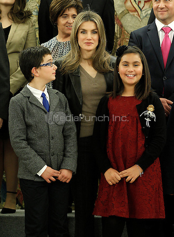 Letizia of Spain attends audiences with a group of children painting competition winners 'Work of Missionary Infancy'.January 9 ,2012. (ALTERPHOTOS/Acero) /NortePhoto /MediaPunch Inc. ***FOR USA ONLY***