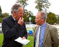 Trainer of Star in The Making talks to a member of the Press after winning The Simpson Hilder Associates Supporting Gift Of Sight EBF Fillies' Novice Stakes during Evening Racing at Salisbury Racecourse on 3rd September 2019