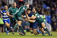 Elliott Stooke of Bath Rugby is tackled to ground. Aviva Premiership match, between London Irish and Bath Rugby on November 19, 2017 at the Madejski Stadium in Reading, England. Photo by: Patrick Khachfe / Onside Images