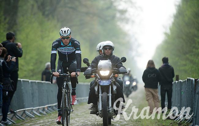 Stijn Vandenbergh (BEL/OPQS) coming through sector 18: Pavé de la Trouée d'Arenberg<br /> <br /> 2014 Paris-Roubaix reconnaissance